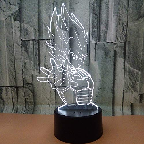WoloShop Lampara LED Dragon Ball Z Vegeta Cambia Color USB Luz Nocturna
